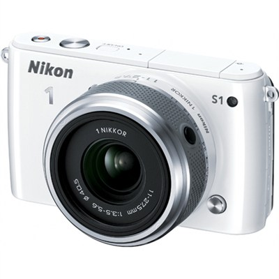1 S1 10.1MP White Digital Camera with 11-27.5mm Lens