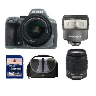 K-50 Digital SLR Camera Zoom Kit  with 18-55 and 50-200 WR Lenses + AF200 Flash