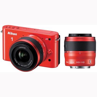 1 J2 SLR Orange Digital Camera w/ 10-30mm & 30-110mm VR Lenses (27589)