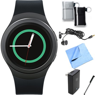 Gear S2 Smartwatch for Android Phones (Dark Gray) Essentials Bundle
