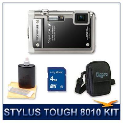 Stylus Tough 8010 Waterproof Shockproof Digital Camera (Black) Bundle Deal