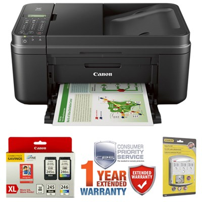 PIXMA MX492 WiFi All-In-One Inkjet Printer w/ Genuine Canon Ink Bundle