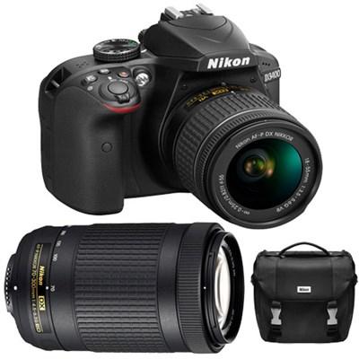 D3400 24.2MP DSLR Camera w/ 18-55mm VR & 70-300mm Lenses Refurbished + Case Kit