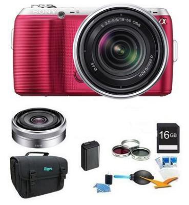Alpha NEX-C3 Silver Digital SLR w/ 18-55mm, 16mm f2.8 Lens