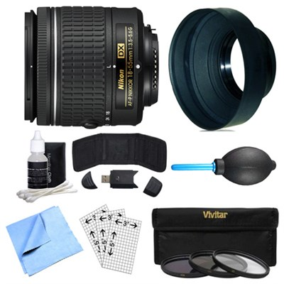 AF-P DX NIKKOR 18-55mm f/3.5-5.6G Lens, Filter Kit, and Accessories Bundle