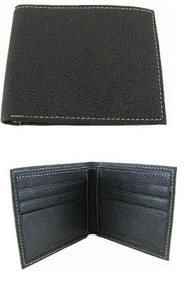 Bi Fold Pebble Grain Leather Wallet with Embossed Swoosh (Black)
