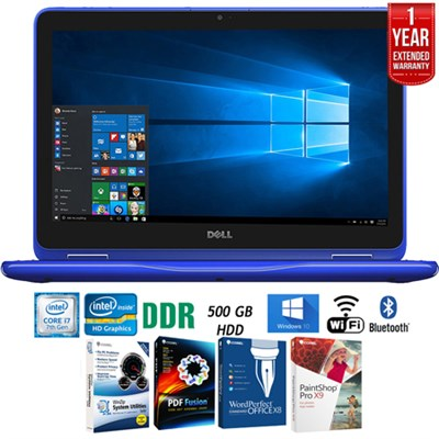 i3179-0000BLU Inspiron 11.6` Intel M3-7Y30 2-in-1 Laptop+Software+Warranty