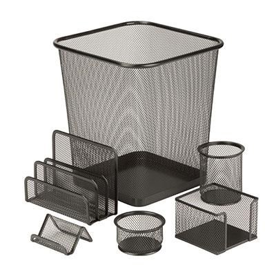 Steel Mesh Desk Set 6pc Black