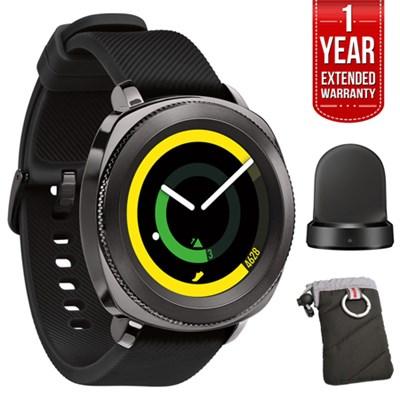 Gear Sport Fitness Watch (Black) w/ Extended Warranty Bundle