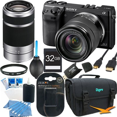 NEX7K/B - NEX-7 24.3 MP Black Camera w/ 18-55mm & 55-210mm lens 32GB Bundle
