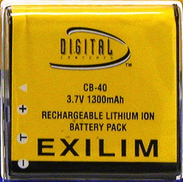 CB-40 1300mAh Replacement Battery for Casio Exilim cameras