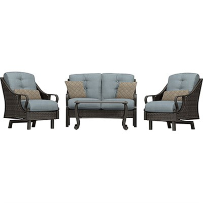Ventura 4pc Seating Set: Sofa 2 glide chairs ceramic tile coffee table