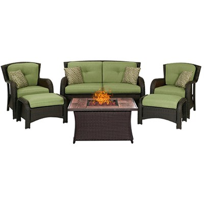 Strathmere 6-Piece Lounge Set in Cilantro Green - STRATH6PCFP-GRN-WG