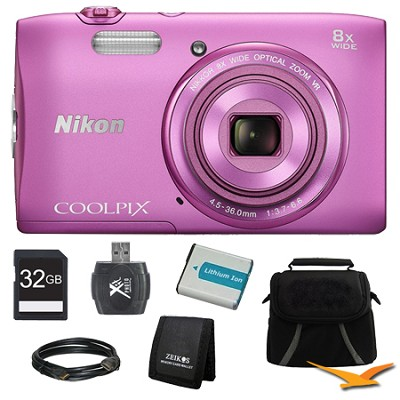 COOLPIX S3600 20.1MP 2.7` LCD 720p HD Video Digital Camera Pink Ultimate Kit