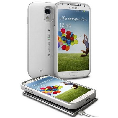 Aero Battery Case Cover with Wireless Charging Mat for Galaxy S4 - White/Silver