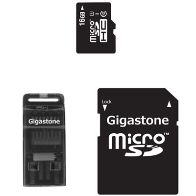 MicroSD HC 16GB C10 U1 with SD and USB Adapters