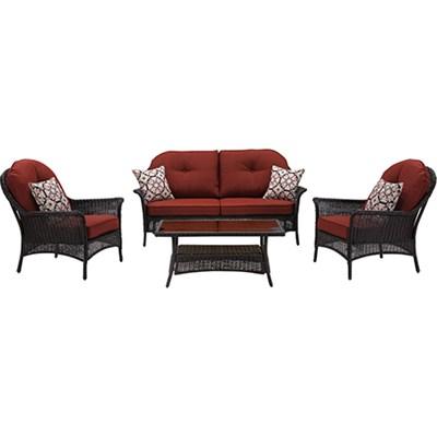 San Marino 4-Piece Seating Set in Crimson Red - SMAR-4PC-RED