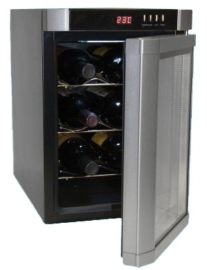 Up to 6-Bottle Capacity Thermal Electric Wine Cellar, Black with Silver Door