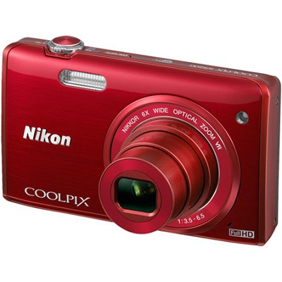 COOLPIX S5200 16 MP Built-In Wi-Fi Digital Camera - Red - Factory Refurbished
