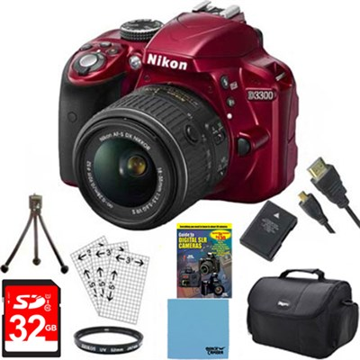 D3300 DSLR 24.2 MP HD 1080p Camera with 18-55mm Lens - Red Bundle