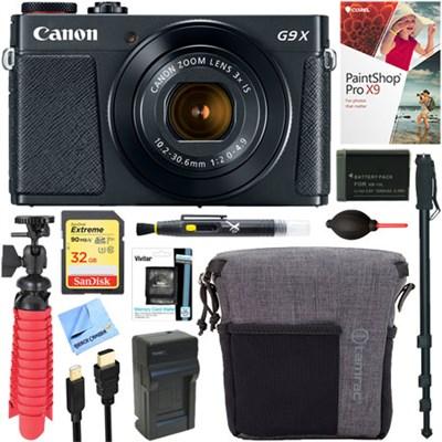 PowerShot G9 X Mark II Digital Camera (Black) + 32GB Deluxe Accessory Bundle