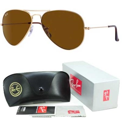 Aviator Classic Metal Sunglasses Gold Frame/Brown Solid Lens 58mm - OPEN BOX