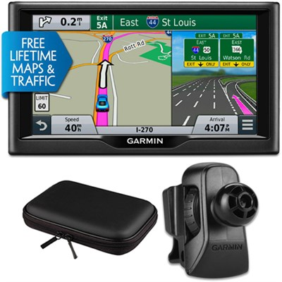 nuvi 67LMT 6` Essential Series 2015 GPS w Maps/Traffic Vent Mount & Case Bundle