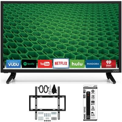 D24-D1 D-Series 24` Class Edge-Lit LED Smart TV Slim Flat Wall Mount Bundle
