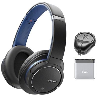 Bluetooth Noise Cancelling Headphones - Blue w/ FiiO A1 Amplifier Bundle