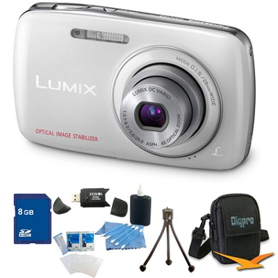 Lumix DMC-S3 14MP Compact White Digital Camera w/ 720p HD Video 8GB Bundle