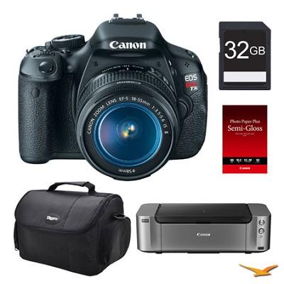 EOS T3i DSLR Camera 18-55mm Lens, 32GB, Printer Bundle