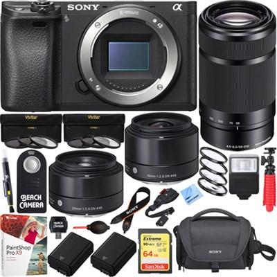 a6500 4K Mirrorless Camera w/ 55-210mm & Sigma 19mm & 30mm Prime Art Lens Bundle