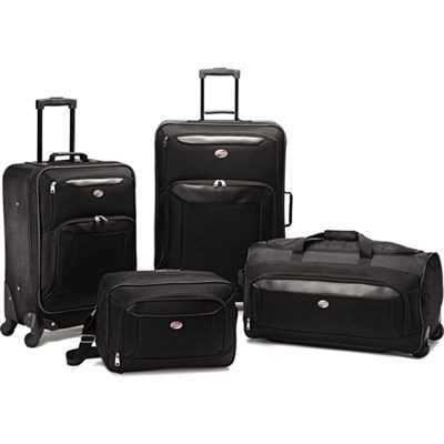 Brookfield Black 4 Pc Luggage Set (21` & 25` Spinners, Boarding, Wheeled Duffle)