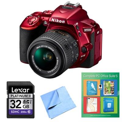 D5500 Red DSLR Camera 18-55mm Lens, PC Office Suite 5 and 32GB Bundle