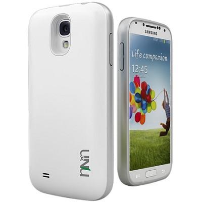 Unity Ultra-Slim 2600mAh Battery Case for Samsung Galaxy S4 - White/Silver