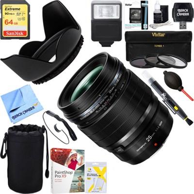 M.Zuiko Digital ED 25mm F1.2 PRO Black Lens + 64GB Ultimate Kit