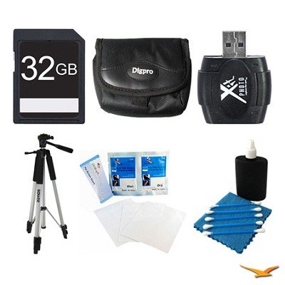 32GB SD Card, Case, Card Reader, Tripod, Screen Protectors, and Cleaning Kit