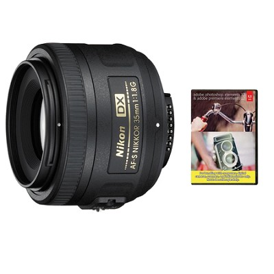 AF-S DX Nikkor 35mm F/1.8G Lens With Adobe Elements Bundle