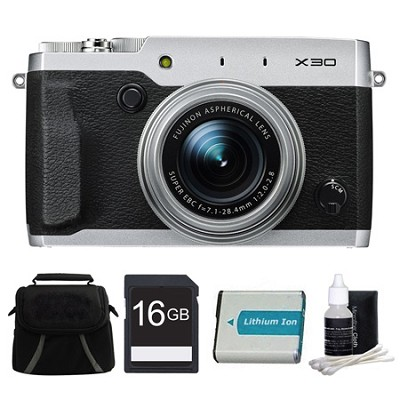 X30 Silver Compact Digital Camera 16GB Bundle