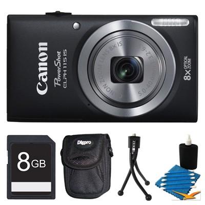 Powershot ELPH 115 IS Black Digital Camera 8GB Bundle