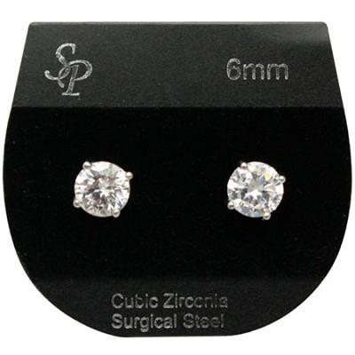 6mm Circle Cubic Zirconia Earrings