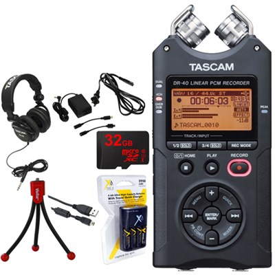 Portable Digital Recorder DR-40 with 32GB Deluxe Power Bundle