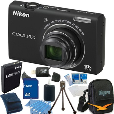COOLPIX S6200 Black 10x Zoom 16MP Camera 16GB Bundle