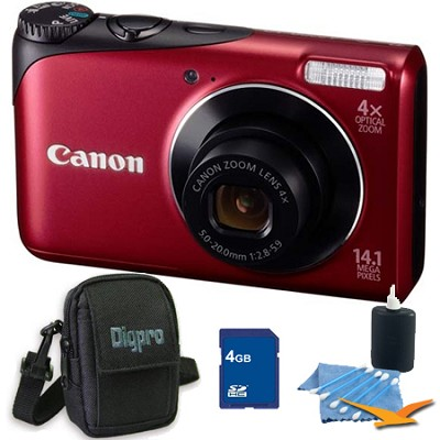 PowerShot A2200 14MP Red Digital Camera 4GB Bundle