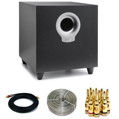 Debut Series S10 200W Powered Subwoofer DS101-BK with Accessories Bundle