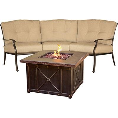 Traditions 2pc Fire Pit Set: 1 Durastone Fire Pit 1 Crescent Sofa