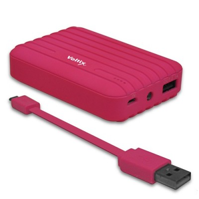 8,500mAh Rubberized Portable Power Battery Bank in Pink