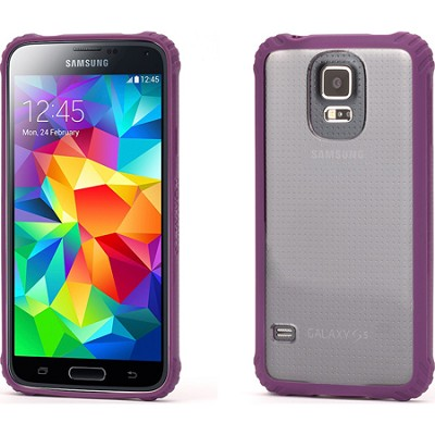 Survivor Clear Protective Case with Purple Trim for Samsung Galaxy S5