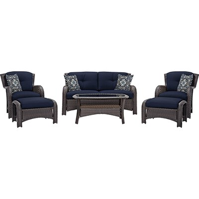 Strathmere 6-Piece Seating Set in Navy Blue - STRATHMERE6PCNVY