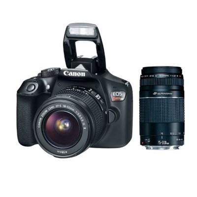 EOS Rebel T6 DSLR Camera w/ EF-S 18-55mm and 75-300mm IS II Lens Double Zoom Kit